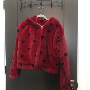 Heart print faux fur jacket